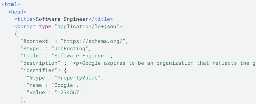 Google jobs code snippet